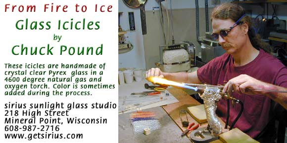 Glass Icicles made in USA by Chuck Pound