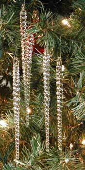 Glass icicle Christmas ornaments